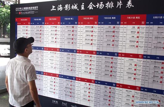 A visitor receives temperature check before entering the Shanghai Film Art Center in Shanghai, east China, July 25, 2020. Shanghai International Film Festival opened here on Saturday, which will be held both online and offline. (Xinhua/Ren Long)