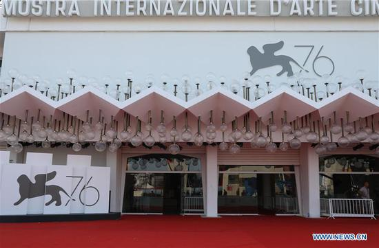 Staff members prepare for the opening ceremony of the 76th Venice International Film Festival in Venice Lido, Italy, on Aug. 27, 2019. The 76th Venice International Film Festival will kick off here on Wednesday. (Xinhua/Cheng Tingting)