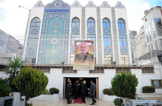 A ceremony honoring the Iranian senior general Qassem Soleimani is held at the Iranian embassy in Damascus, Syria, on Jan. 5, 2020. (Photo by Ammar Safarjalani/Xinhua)