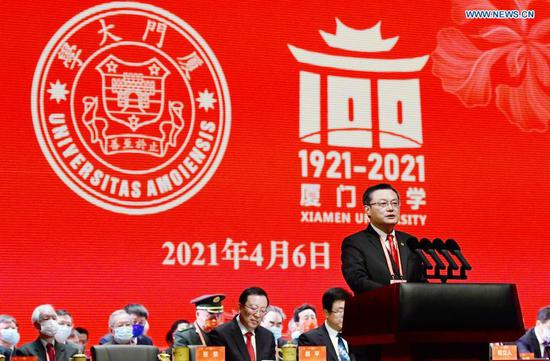President of the Xiamen University Zhang Rong speaks during the university's 100th anniversary celebration in Xiamen, southeast China's Fujian Province, April 6, 2021.
