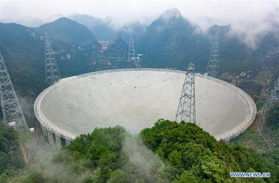Photo taken on Sept. 11, 2018 shows China's Five-hundred-meter Aperture Spherical Radio Telescope (FAST) in southwest China's Guizhou Province. FAST has discovered 44 new pulsars so far. (Xinhua/Liu Xu)
