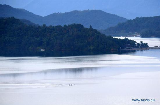 Photo taken on July 11, 2019 shows the morning scenery of the scenic spot of Riyue Tan, or the Sun Moon Lake, in Nantou County, southeast China's Taiwan. (Xinhua/Zhu Xiang)