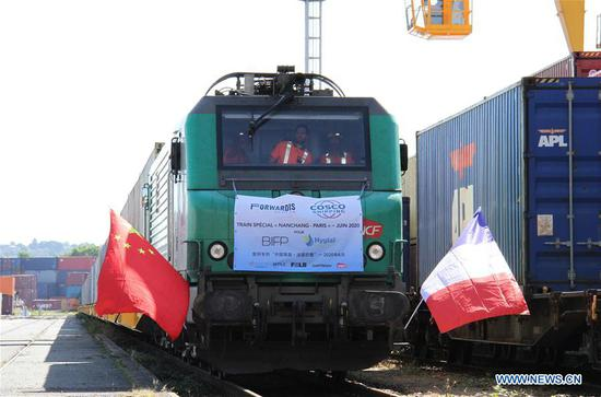 The China-Europe cagro train arrives at Paris, France, June 23, 2020. After a 19-day journey, a China-Europe cargo train loaded with medical materials arrived in Paris on Tuesday morning, the first freight train dedicated to transport protective materials against COVID-19 directly from China to France. (Xinhua/Xu Yongchun)