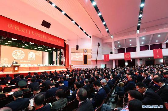 Photo shows the scene of Xiamen University's 100th anniversary celebration in Xiamen, southeast China's Fujian Province, April 6, 2021.