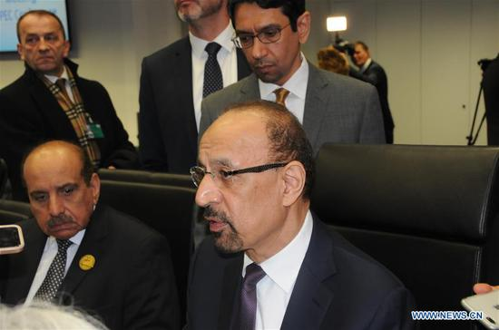 Saudi Energy Minister Khalid Al-Falih (R) is interviewed before the closed-door meeting of the Organisation of the Petroleum Exporting Countries (OPEC) in Vienna, Austria, Dec. 6, 2018. In a press release, OPEC said it is important to examine the potential gap between supply and demand in 2019. (Xinhua/Liu Xiang)