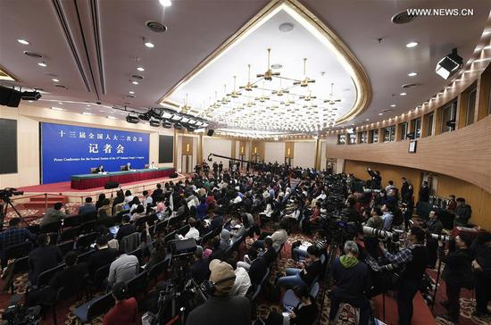 Liu Yongfu, director of the State Council Leading Group Office of Poverty Alleviation and Development, attends a press conference on the country's battle against poverty for the second session of the 13th National People's Congress in Beijing, capital of China, March 7, 2019. (Xinhua/Wang Peng)