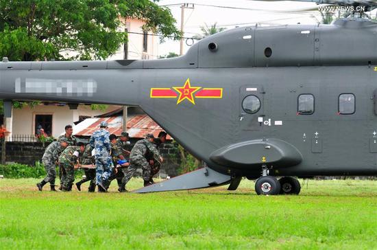 The Chinese People's Liberation Army (PLA)'s Z-8G rescue helicopter participates in the