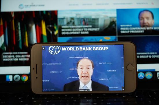 World Bank Group President David Malpass speaks at a virtual press conference, in Washington D.C., the United States, on April 17, 2020. (Xinhua/Liu Jie)