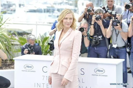 The president of jury, Australian actress Cate Blanchett poses for photos during a photocall of 71st Cannes International Film Festival in Cannes, France on May 8, 2018. (Xinhua/Chen Yichen)