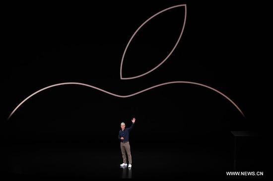 Tim Cook, CEO of Apple, speaks on stage at the Steve Jobs Theater during an event to announce new Apple products in Cupertino, the United States, on Sept. 12, 2018. (Xinhua/Wu Xiaoling)