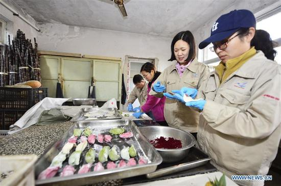 Nutritionists make special dumplings with fruits and vegetables as fillings for animals to greet the upcoming Spring Festival at Tianjin Zoo in Tianjin, north China, Feb. 1, 2019. The Spring Festival, or the Chinese Lunar New Year, falls on Feb. 5 this year. (Xinhua/Shi Songyu)