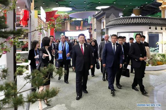 Chinese President Xi Jinping and his wife Peng Liyuan are joined by foreign leaders and their spouses for a tour of the International Horticultural Exhibition 2019 Beijing in Yanqing District of Beijing, capital of China, April 28, 2019. (Xinhua/Ding Haitao)