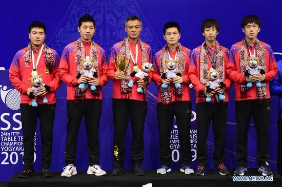 中国队在亚洲乒乓球男子团体赛中击败韩国队