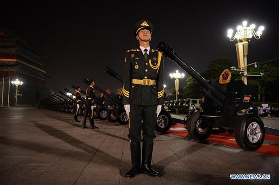 Photo taken on Oct. 1, 2019 shows the preparation of a gun salute ceremony for the celebrations marking the 70th anniversary of the founding of the People's Republic of China (PRC) in Beijing, capital of China. (Xinhua/Wan Xiang)