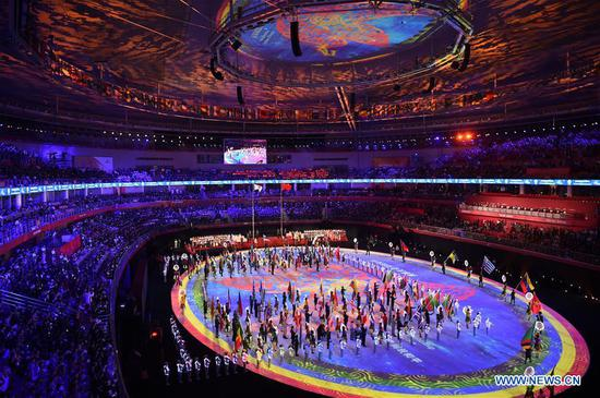 Photo taken on Oct. 27, 2019 shows the closing ceremony of the 7th CISM Military World Games is held in Wuhan, capital of central China's Hubei Province, on Oct. 27, 2019. (Xinhua/Fan Peishen)