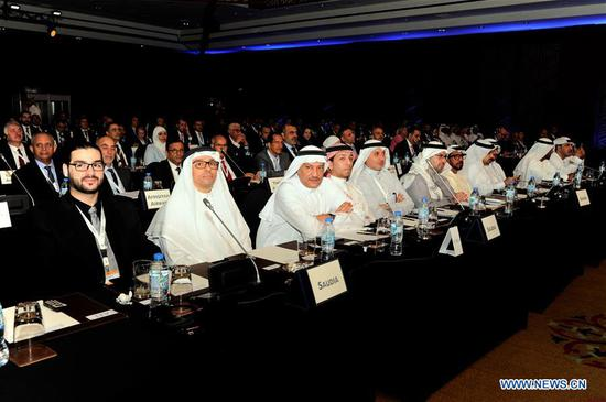 Participants attend the 52nd annual general meeting of the Arab Air Carriers Organization (AACO) in Kuwait City, Kuwait, on Nov. 5, 2019. Kuwait launched on Tuesday the 52nd annual general meeting of the Arab Air Carriers Organization (AACO) in the capital Kuwait City. (Xinhua)