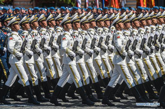 The Guard of Honor of the Chinese People's Liberation Army (PLA) take part in the military parade marking the 75th anniversary of the victory in the Great Patriotic War on Red Square in Moscow, Russia, June 24, 2020. (Xinhua/Evgeny Sinitsyn)