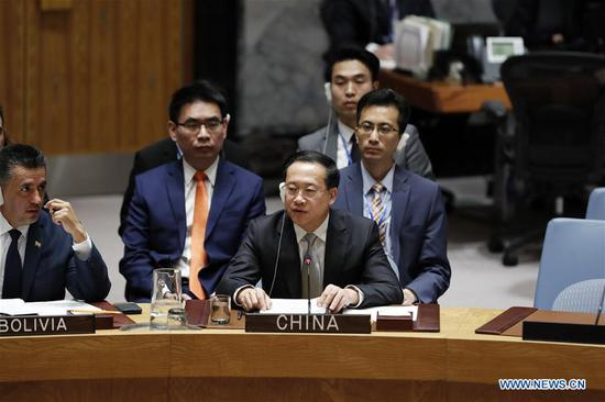 China's Permanent Representative to the United Nations Ma Zhaoxu (C, Front) addresses a Security Council meeting at the UN headquarters in New York, on April 13, 2018. Ma Zhaoxu on Friday called on parties concerned to remain calm and exercise restraint over the situation in Syria. The current situation in Syria is perilous, Ma told a Security Council meeting requested by Russia, adding that it's at a crossroads of war and peace. (Xinhua/Li Muzi)