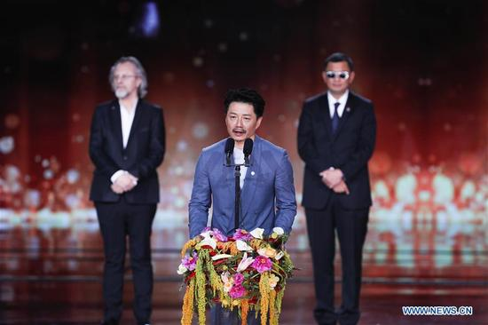 Jury member of the Tiantan Award Duan Yihong addresses the opening ceremony of the 8th Beijing International Film Festival (BJIFF) in Beijing, capital of China, April 15, 2018. (Xinhua/Zheng Huansong)