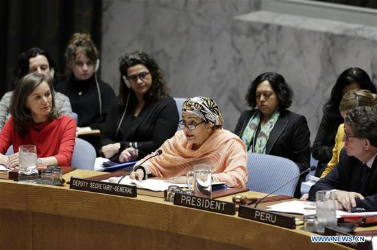 Amina Mohammed (C, front), United Nations Deputy Secretary-General, addresses the UN Security Council open debate on preventing sexual violence in conflict at the UN headquarters in New York, April 16, 2018. UN Deputy Secretary-General Amina Mohammed on Monday stressed the need to stop sexual violence in conflict. (Xinhua/Li Muzi)