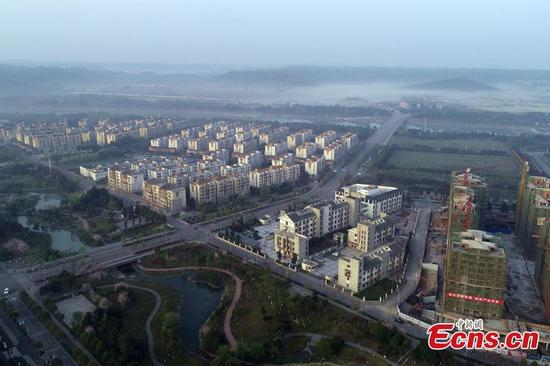 The new Beichuan County, 23 kilometers from the old town demolished by the Wenchuan earthquake in 2008, was built with the assistance of eastern China's Shandong Province. This year marks the 10thanniversary of the deadly quake, which left more than 80,000 people dead or missing. (Photo: China News Service/Liu Zhongjun)