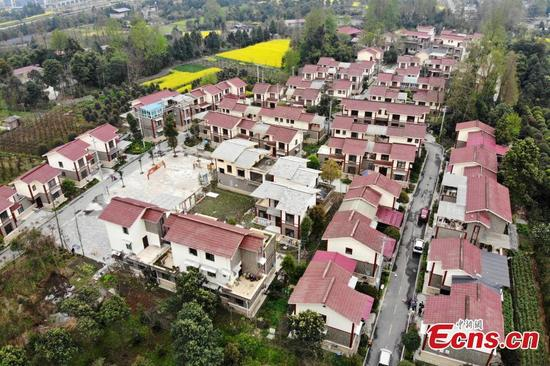Farmer's homes in Dujiangyan City, Sichuan Province were rebuilt with the support of Shanghai following the deadly earthquake ten years ago. (Photo: China News Service/Zhang Lang)