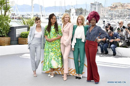 American actress Kristen Stewart, American director Ava Duvernay, president of jury Australian actress Cate Blanchett, French actress Lea Seydoux and Burundi Composer Khadja Nin (L to R) pose for photos during a photocall of 71st Cannes International Film Festival in Cannes, France on May 8, 2018. (Xinhua/Chen Yichen)