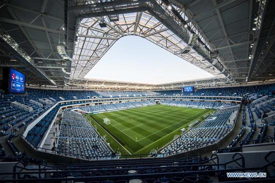 Photo taken on April 11, 2018 shows the inside view of Kaliningrad Stadium which will host the 2018 World Cup matches in Kalininggrad, Russia. (Xinhua/Wu Zhuang)