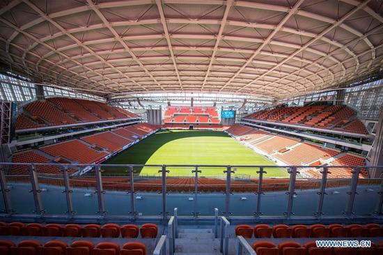 Photo taken on April 14, 2018 shows the inside view of Ekaterinburg Arena which will host the 2018 World Cup matches in Ekaterinburg, Russia. (Xinhua/Wu Zhuang)