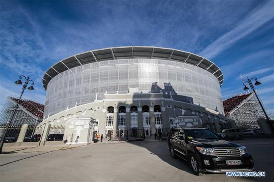 Photo taken on April 15, 2018 shows the outside view of Ekaterinburg Arena which will host the 2018 World Cup matches in Ekaterinburg, Russia. (Xinhua/Wu Zhuang)
