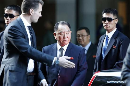 Kim Yong Chol (C), vice chairman of the ruling Workers' Party of Korea (WPK) Central Committee of the Democratic People's Republic of Korea (DPRK), leaves a hotel in New York, the United States, May 30, 2018. Kim Yong Chol arrived in New York to talk with U.S. Secretary of State Mike Pompeo. (Xinhua/Li Muzi)