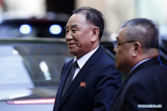 Kim Yong Chol (L), vice chairman of the ruling Workers' Party of Korea (WPK) Central Committee of the Democratic People's Republic of Korea (DPRK), arrives at a hotel in New York, the United States, May 30, 2018. Kim Yong Chol arrived in New York to talk with U.S. Secretary of State Mike Pompeo. (Xinhua/Li Muzi)