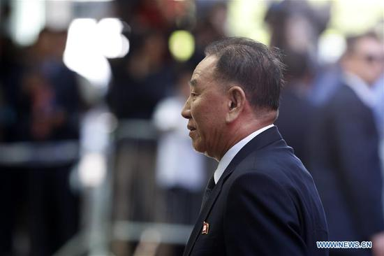 Kim Yong Chol, vice chairman of the ruling Workers' Party of Korea (WPK) Central Committee of the Democratic People's Republic of Korea (DPRK), arrives at a hotel in New York, the United States, May 30, 2018. Kim Yong Chol arrived in New York to talk with U.S. Secretary of State Mike Pompeo. (Xinhua/Li Muzi)