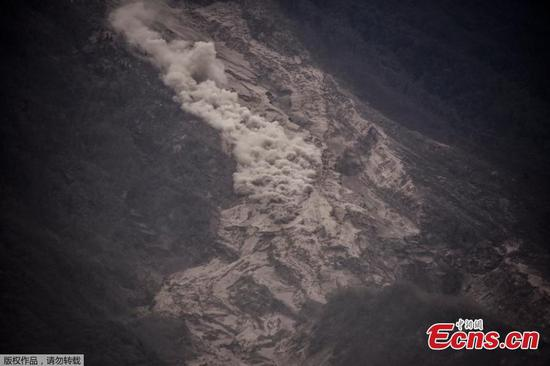 Aerial view of the aftermath of a volcano eruption in Escuintla, Guatemala, June 4, 2018. An estimated 25 people, including at least three children, were killed and nearly 300 injured on Sunday in the most violent eruption of Guatemala's Fuego volcano in more than four decades, officials said. (Photo/Agencies)