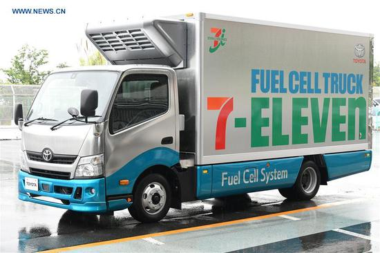 Photo taken on June 6, 2018 shows Toyota Motor Corp's hydrogen fuel cell truck for pilot project with Seven-Eleven in Tokyo, Japan. (Xinhua/Hua Yi)
