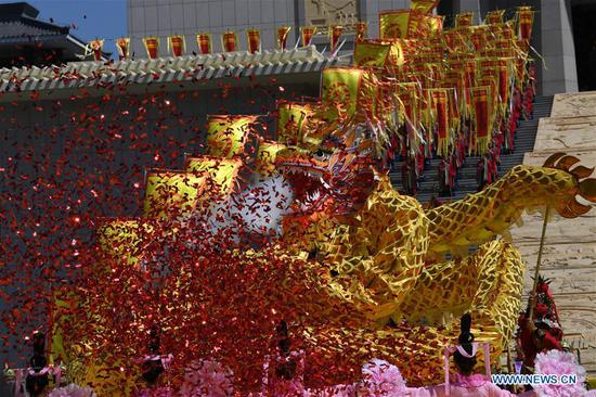 Performance is held during an ancestor worship grand ceremony in honor of Emperor Yao, a legendary Chinese ruler, in Linfen, north China's Shanxi Province, June 11, 2018. (Xinhua/Yang Chenguang)