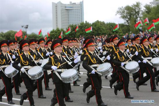 The military band march during a military parade marking the Independence Day in Minsk, Belarus, July 3, 2018. (Xinhua/Wei Zhongjie)