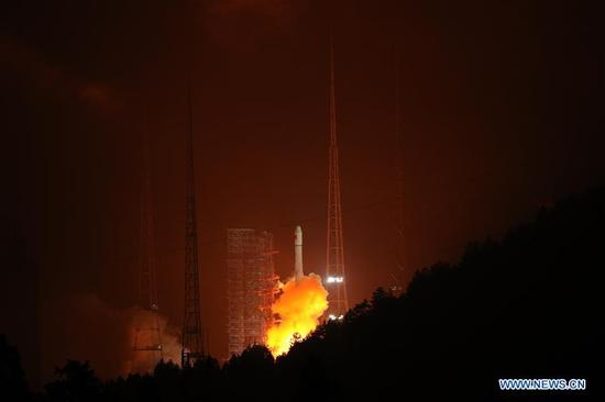 China sends a new Beidou navigation satellite into orbit on a Long March-3A rocket from the Xichang Satellite Launch Center, in the southwestern Sichuan Province, July 10, 2018. The satellite is the 32nd of the Beidou navigation system, and one of the Beidou-2 family, which is the second generation of the system. The launch was the 280th mission of the Long March rocket series. (Xinhua)