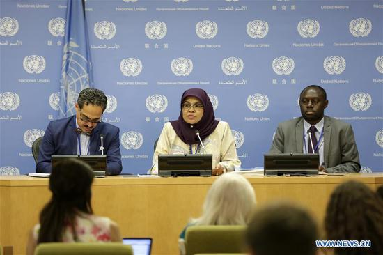 Maimunah Mohd Sharif (C), Executive Director of UN-Habitat, speaks at a press conference on the sideline of the High Level Political Forum on Sustainable Development at the UN headquarters in New York, on July 11, 2018. The world's population living in cities or urban centers has risen steadily over the years, poised to reach 60 percent of the entire population by 2030 and 66 percent by 2050, a UN-Habitat report said Wednesday. (Xinhua/Li Muzi)