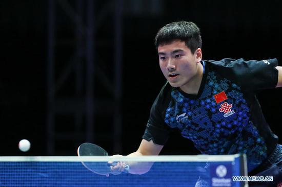 Liang Jingkun of China competes during the men's single final match against Jang Woojin of South Korea at the ITTF World Tour Platinum Korea Open in Daejeon, South Korea, July 22, 2018. Jang Woojin won 4-0. (Xinhua/Wang Jingqiang)