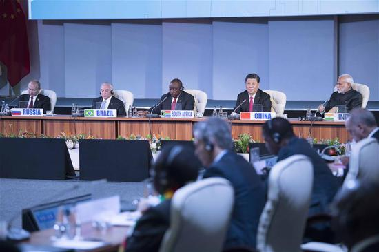 """Chinese President Xi Jinping makes a speech to an outreach dialogue grouping leaders from the BRICS, the """"BRICS Plus"""" and African countries at the 10th BRICS summit in Johannesburg, South Africa, July 27, 2018. (Xinhua/Li Tao)"""