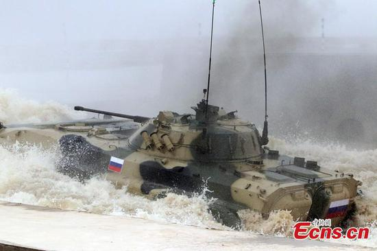 A Russian infantry fighting vehicle during the