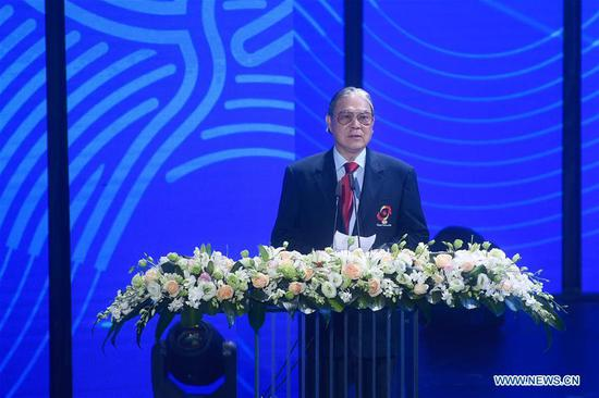 Timothy Fok Tsun-ting, vice Chairman of Olympic Council of Asia, speaks during the Emblem Launch Ceremony for the 19th Asian Games Hangzhou 2022 on Aug. 6, 2018, in Hangzhou, capital of east China's Zhejiang Province.(Xinhua/Huang Zongzhi)