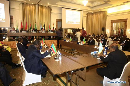 Photo taken on Aug. 9, 2018 shows the 64th extraordinary session of the Council of Ministers of Intergovernmental Authority on Development (IGAD) in Khartoum, Sudan. The East African trade bloc Intergovernmental Authority on Development (IGAD) on Thursday kicked off an extraordinary ministerial session in Sudan's capital Khartoum to boost the peace process in South Sudan. (Xinhua/Mohamed Khidir)