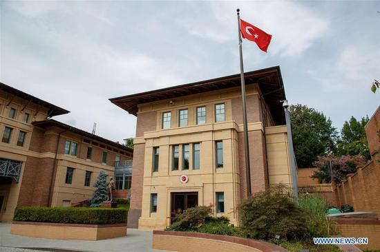 Photo taken on Aug. 10, 2018 shows Turkish Embassy in Washington D.C., the United States. U.S. President Donald Trump tweeted Friday that he has authorized to double the tariffs on steel and aluminum products from Turkey to 50 percent and 20 percent respectively. The White House has since confirmed the tweet. (Xinhua/Ting Shen)