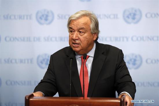 United Nations Secretary-General Antonio Guterres speaks to journalists on the appointment of Michelle Bachelet at the UN headquarters in New York, Aug. 10, 2018. The United Nations General Assembly on Friday approved former Chilean President Michelle Bachelet as the next UN human rights chief by acclamation. (Xinhua/Li Muzi)