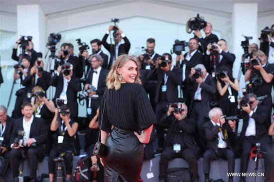 Actress Gaia Weiss poses on the red carpet of the 75th Venice International Film Festival in Venice, Italy, Aug. 29, 2018. The 75th Venice International Film Festival kicked off here on Wednesday. (Xinhua/Cheng Tingting)