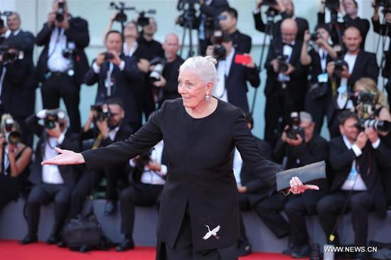 British actress Vanessa Redgrave, who will be awarded the Golden Lion for Lifetime Achievement at the 75th Venice International Film Festival, poses on the red carpet in Venice, Italy, Aug. 29, 2018. The 75th Venice International Film Festival kicked off here on Wednesday. (Xinhua/Cheng Tingting)