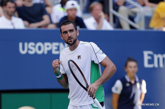 Marin Cilic of Croatia celebrates during the men's singles fourth round match against David Goffin of Belgium at the 2018 US Open in New York, the United States, Sept. 3, 2018. Cilic won 3-0. (Xinhua/Li Muzi)