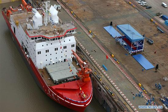 Photo shows China's first domestically-built polar research vessel and icebreaker